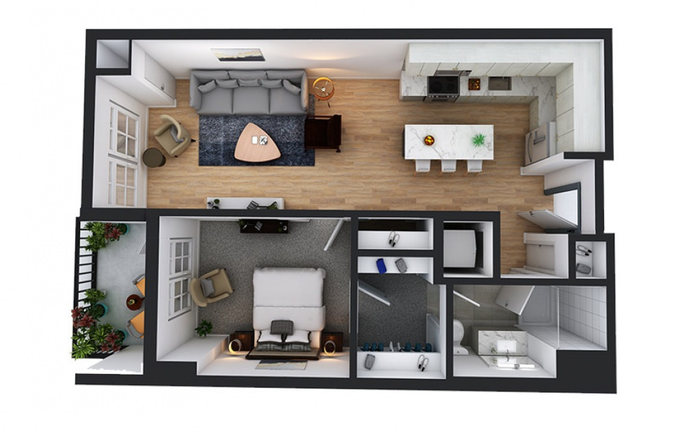 A10 - 1 bedroom floorplan layout with 1 bath and 769 square feet.