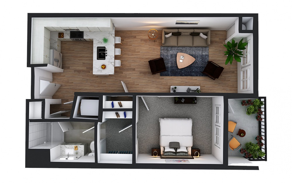 A11 - 1 bedroom floorplan layout with 1 bath and 767 square feet.
