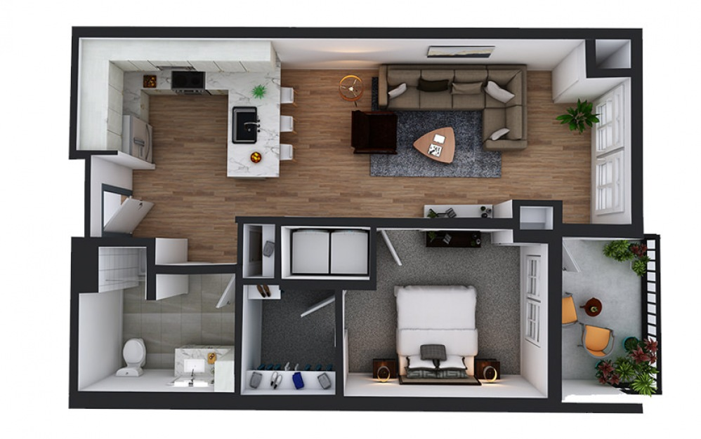A12 - 1 bedroom floorplan layout with 1 bath and 766 square feet.