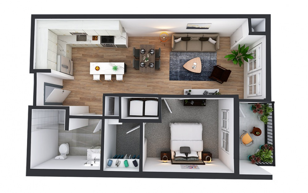 A13 - 1 bedroom floorplan layout with 1 bath and 766 square feet.