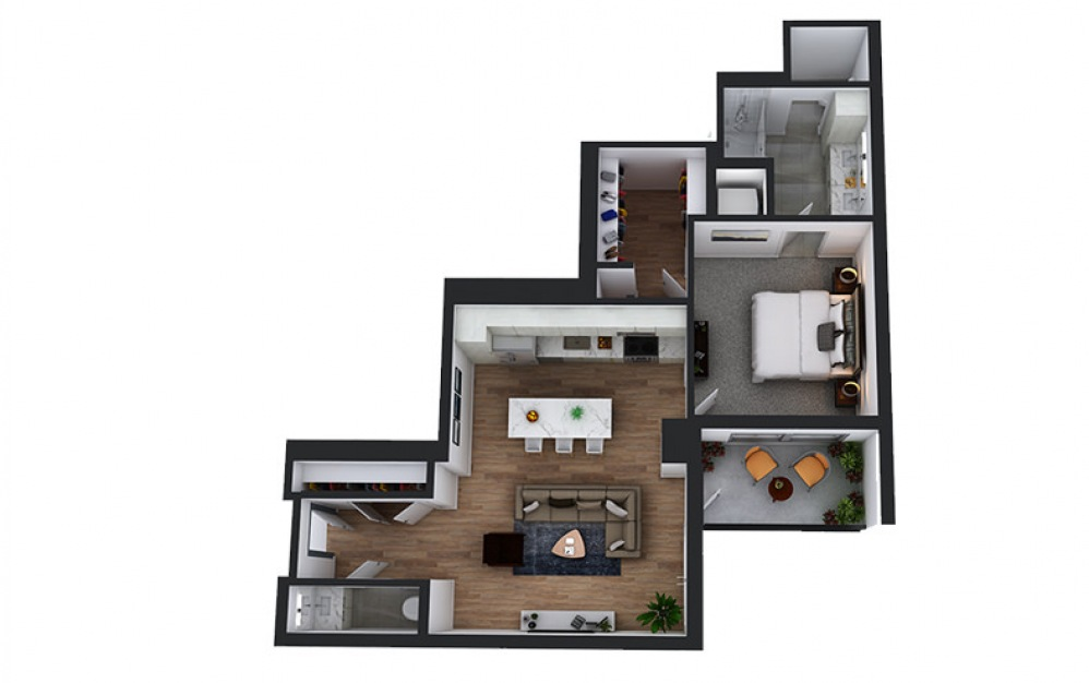 A14 - 1 bedroom floorplan layout with 1.5 bath and 845 square feet.