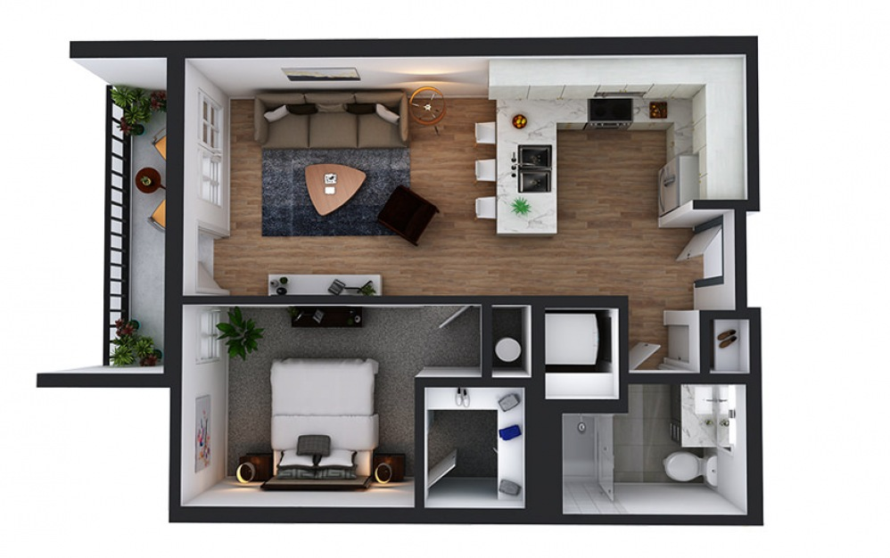 A15 - 1 bedroom floorplan layout with 1 bath and 668 square feet.