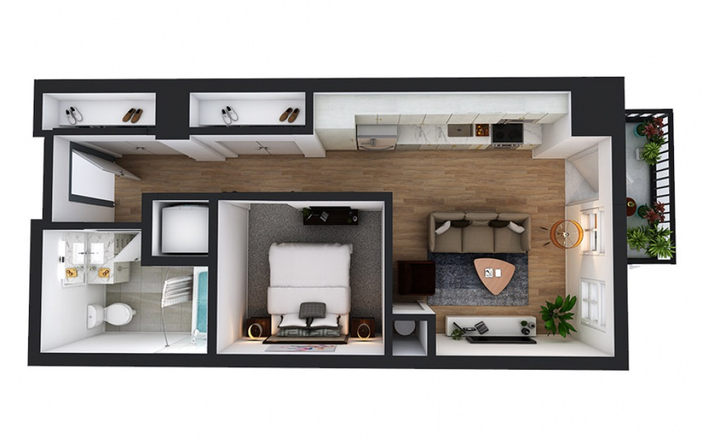 A2 - 1 bedroom floorplan layout with 1 bath and 529 square feet.