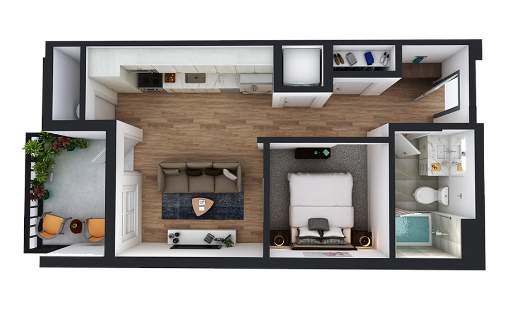 A3 - 1 bedroom floorplan layout with 1 bath and 526 square feet.