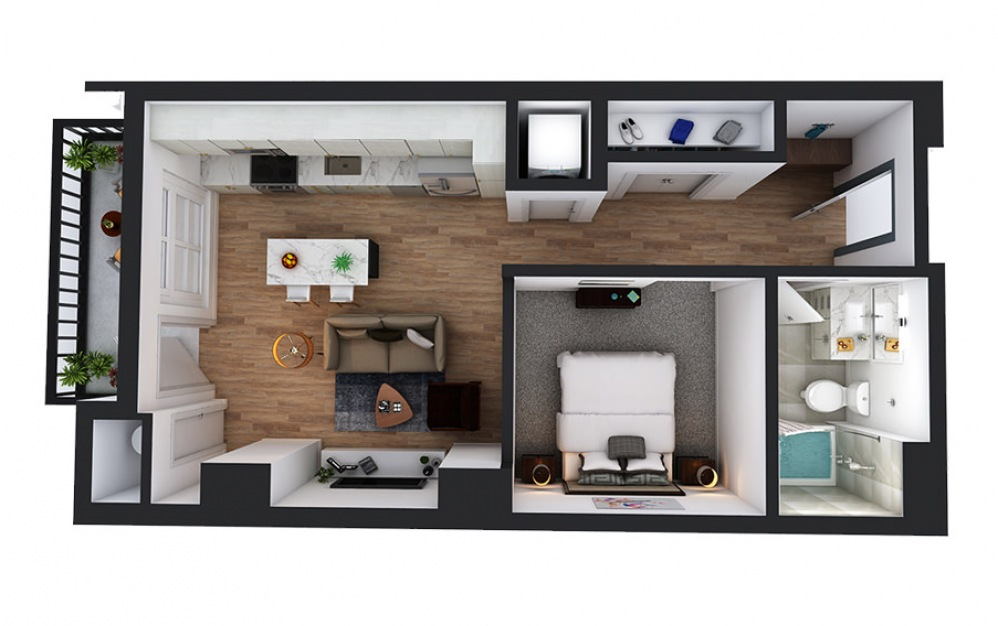 A4 - 1 bedroom floorplan layout with 1 bath and 595 square feet.