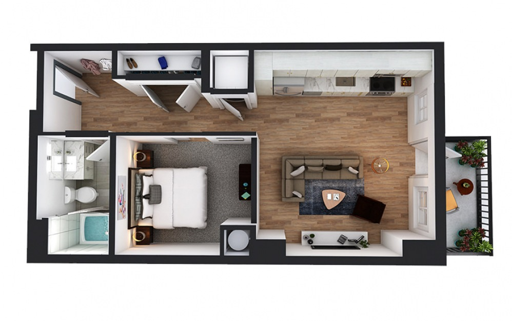A5 - 1 bedroom floorplan layout with 1 bath and 585 to 586 square feet.