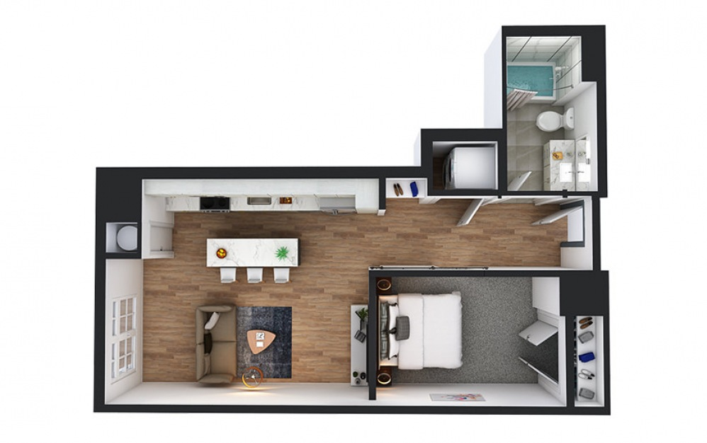 A6 - 1 bedroom floorplan layout with 1 bath and 632 square feet.