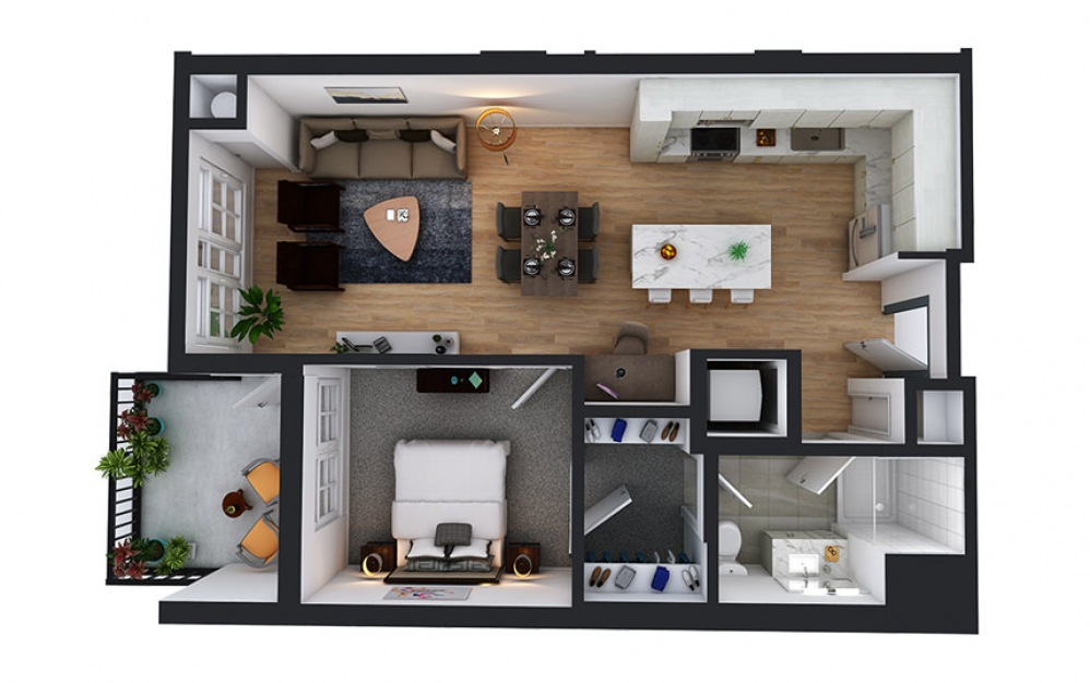 A7 - 1 bedroom floorplan layout with 1 bath and 731 to 742 square feet.