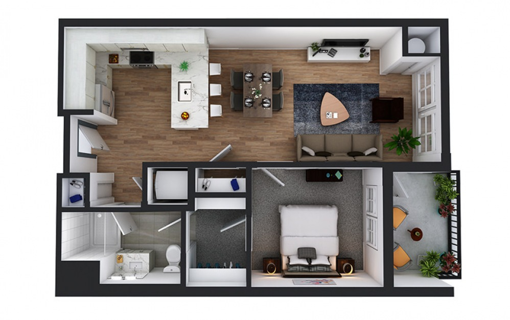 A8 - 1 bedroom floorplan layout with 1 bath and 724 square feet.