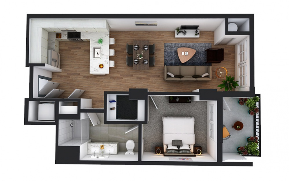 A9 - 1 bedroom floorplan layout with 1 bath and 730 square feet.