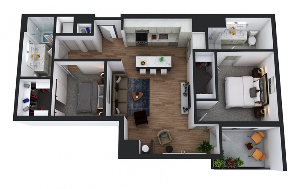 C1 - 2 bedroom floorplan layout with 2 baths and 1040 square feet.
