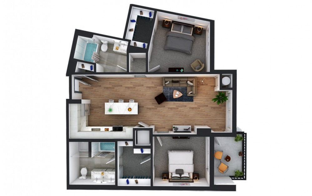 C10 - 2 bedroom floorplan layout with 2 baths and 1133 square feet.