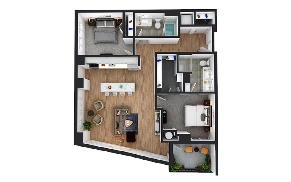 C12 - 2 bedroom floorplan layout with 2 baths and 1180 square feet.