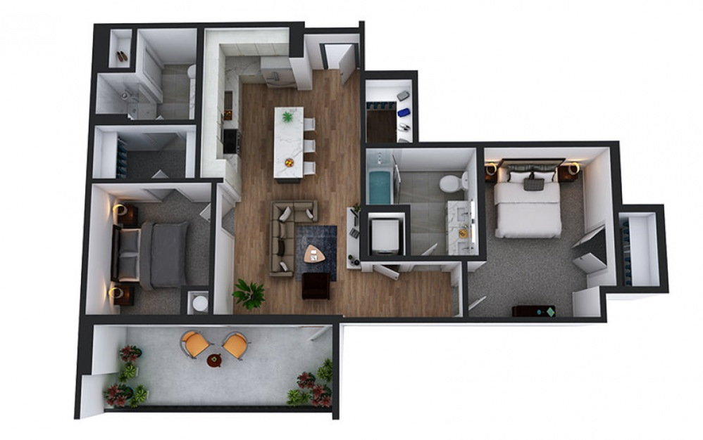 C2 - 2 bedroom floorplan layout with 2 baths and 1004 to 1007 square feet.