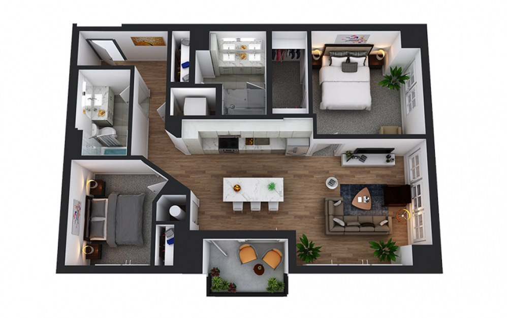 C3 - 2 bedroom floorplan layout with 2 baths and 1052 square feet.