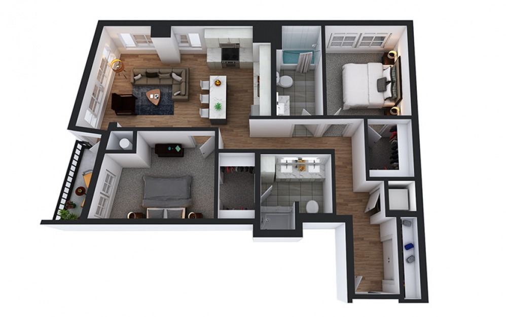 C4 - 2 bedroom floorplan layout with 2 baths and 1078 square feet.
