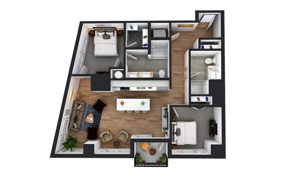 C5 - 2 bedroom floorplan layout with 2 baths and 1057 square feet.