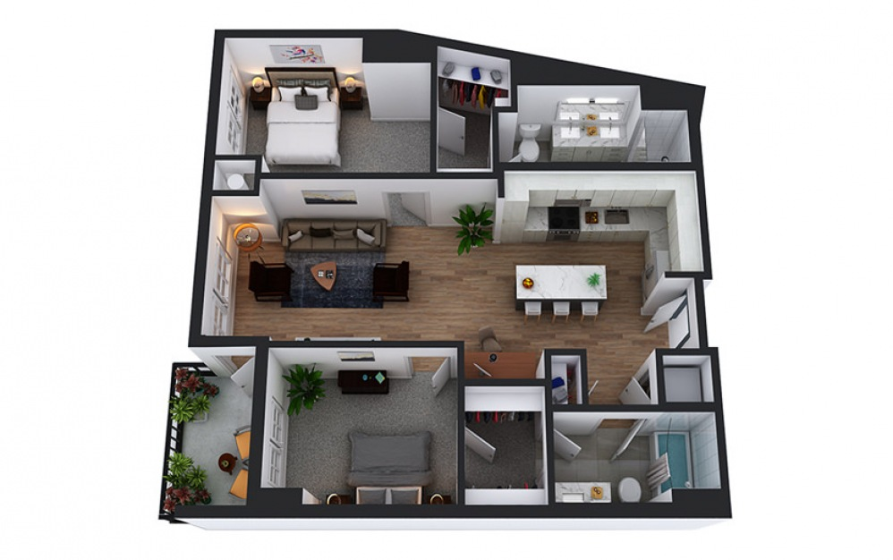 C6 - 2 bedroom floorplan layout with 2 baths and 1116 square feet.