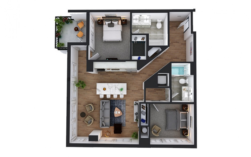 C8 - 2 bedroom floorplan layout with 2 baths and 1154 to 1160 square feet.