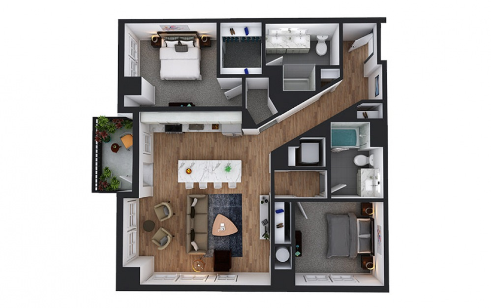 C9 - 2 bedroom floorplan layout with 2 baths and 1147 to 1166 square feet.