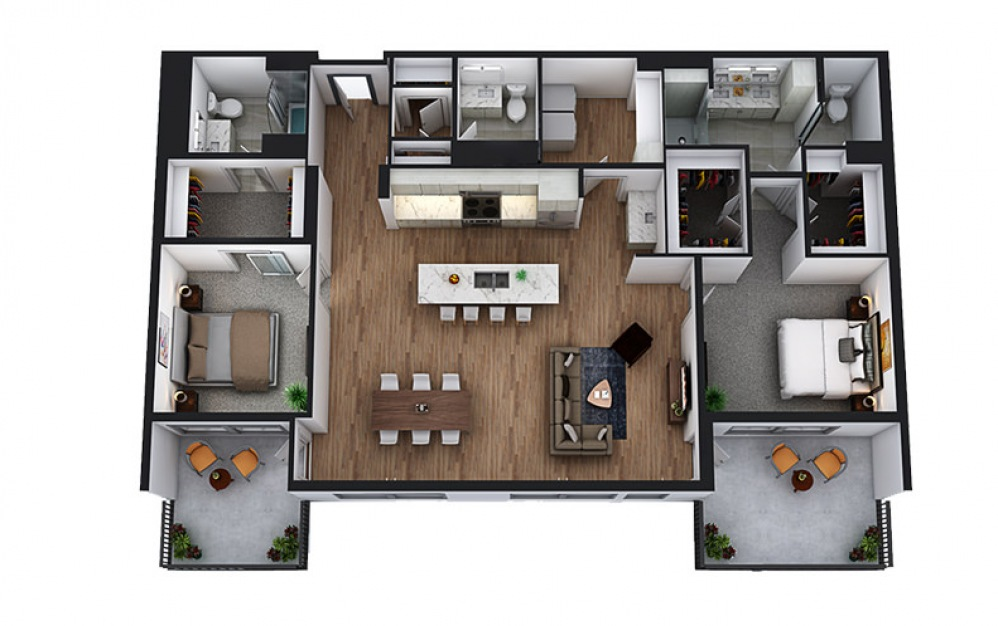 PH2 - 2 bedroom floorplan layout with 2.5 baths and 1730 square feet.