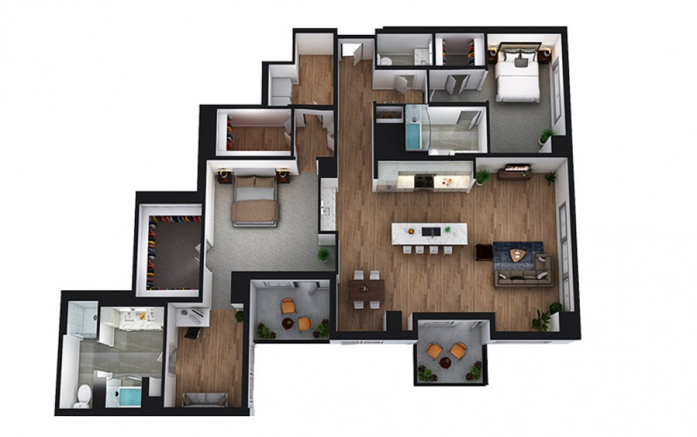 PH3 - 2 bedroom floorplan layout with 2.5 baths and 1993 square feet. (2D)