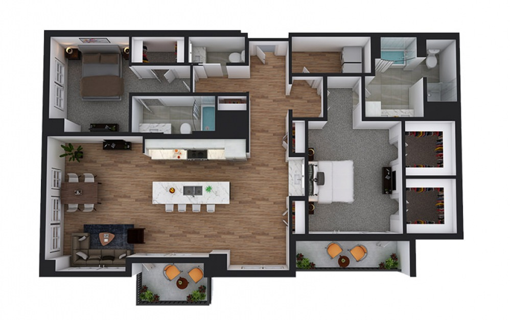 PH4 - 2 bedroom floorplan layout with 2.5 baths and 1815 square feet.